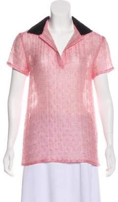 Miu Miu Metallic Short Sleeve Top