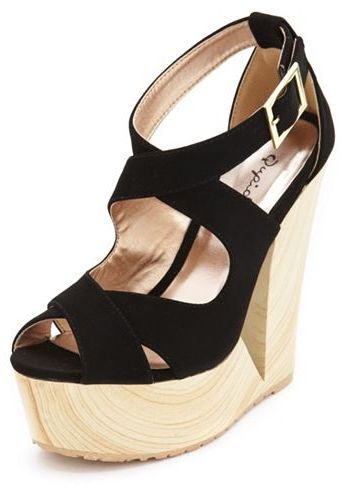 Charlotte Russe X-Front Cutout Wooden Wedge Sandal
