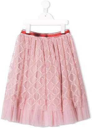 Gucci Kids logo embroidered skirt