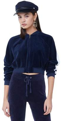 Juicy Couture Velour Striped Sleeve Cropped Bomber Jacket