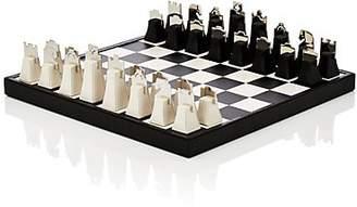 Barneys New York Crocodile & Chrome Chess Set