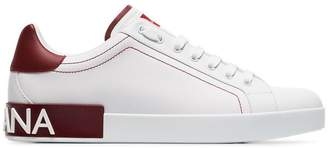 Dolce & Gabbana white and red logo leather low to sneakers