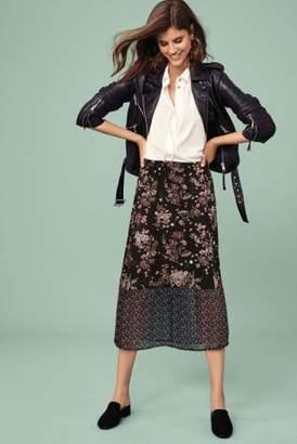 Next Womens Black Print Spliced Midi Skirt
