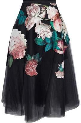 Sachin + Babi Kamal Floral-Appliquéd Pleated Tulle Midi Skirt