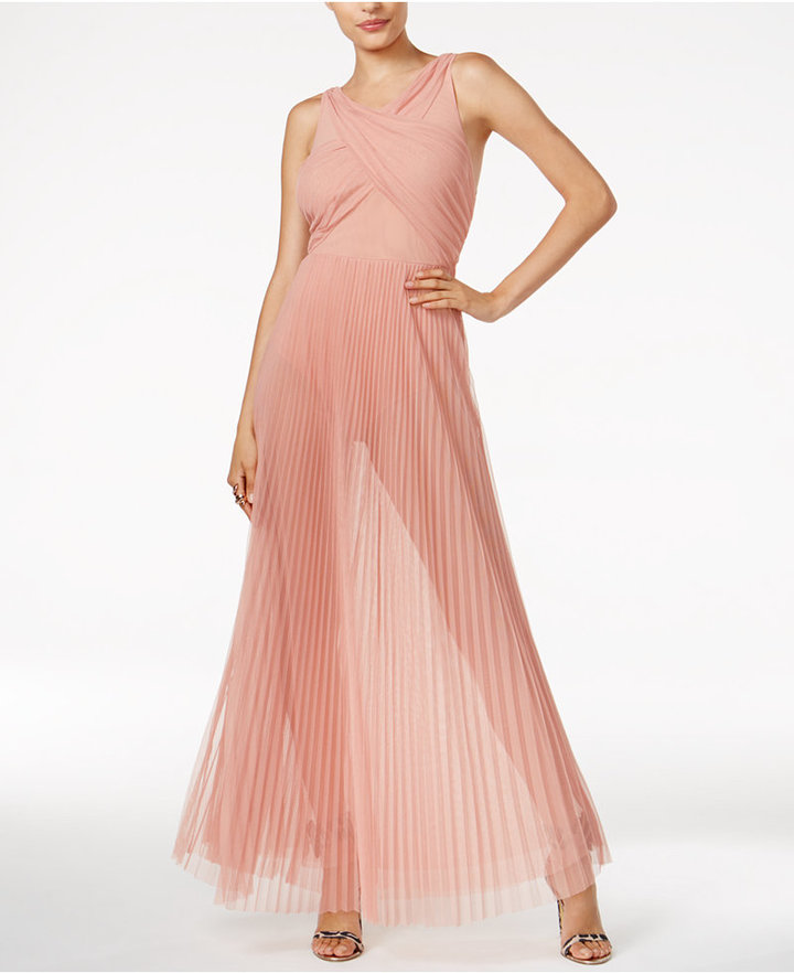 Guess Paulina Sheer Pleated Dress