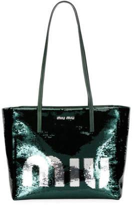 Miu Miu Logo Paillettes Shoulder Tote Bag