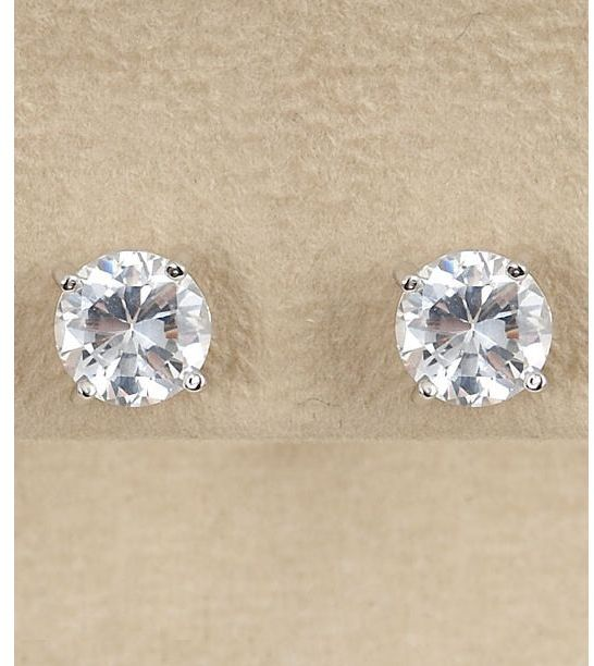 Dillard's sterling collection 8mm cz earrings