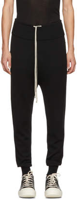 Rick Owens Black Wool Drawstring Long Lounge Pants