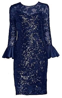 f429ec66dee6 Teri Jon by Rickie Freeman Women's Sequined Bell Sleeve Sheath Dress