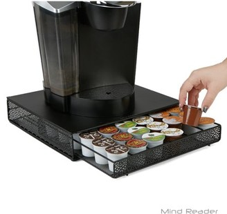 Mind Reader 36 Capacity K-Cup Single Serve Coffee Pod Storage Drawer with Flower Pattern Metal Mesh, Black