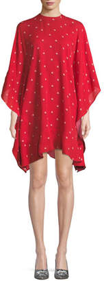 Valentino Long-Sleeve Rosebud Print Silk Tunic Dress