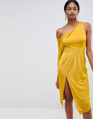 Asos DESIGN slinky one shoulder midi dress
