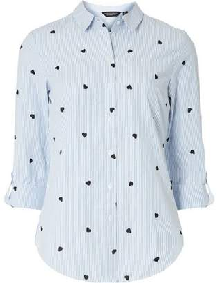 Dorothy Perkins Womens Blue Embroidered Heart Striped Shirt