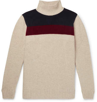 The Elder Statesman Colour-Block Cashmere Turtleneck Sweater - Men - Off-white