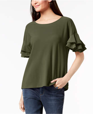 INC International Concepts I.n.c. Petite Ruffled-Sleeve Top, Created for Macy's