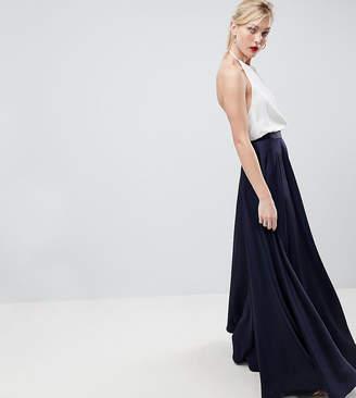 Asos Tall Design Tall Satin Maxi Skirt With Centre Front Split