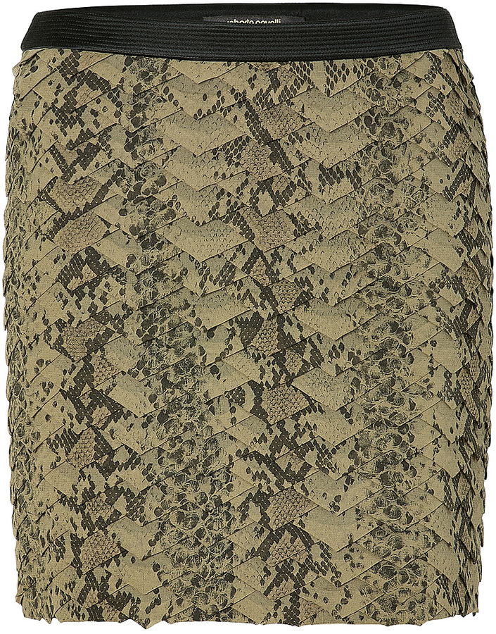 Roberto Cavalli Olive and Black Python Print Silk Skirt