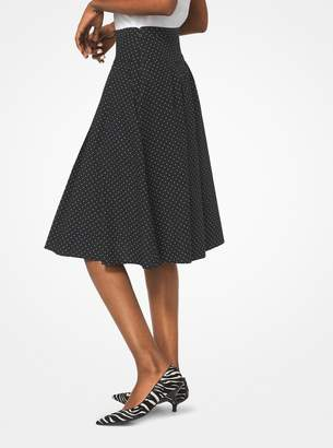 Michael Kors Pindot Pleated Stretch Cotton-Poplin Skirt