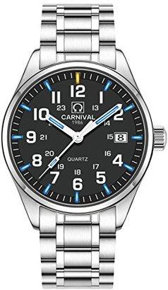Carnival Men 's Quartz Watch ArabicアナログアウトドアミリタリーTritiumガス超明るい自己光ブルーまたはグリーン Blue Light-Black