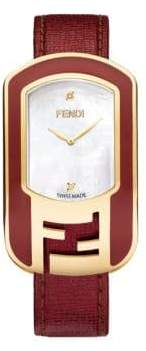 Fendi Chameleon Enamel, Mother-Of-Pearl, Goldtone Stainless Steel & Leather Large Signature Strap Watch