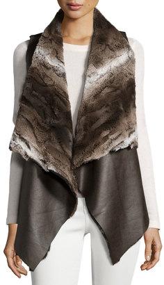 Neiman Marcus Faux Chinchilla Fur-Trimmed Vegan Leather Vest, Brown $85 thestylecure.com