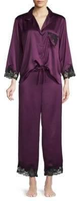 Natori Two-Piece Lace-Trimmed Pajama Set