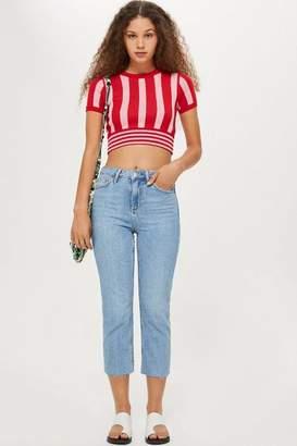 Topshop Petite Bleach Raw Hem Straight Leg Jeans