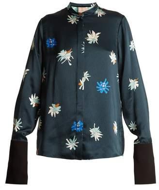 Roksanda Carone Floral Print Hammered Satin Blouse - Womens - Green Multi