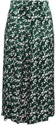 By Malene Birger Gathered Printed Satin Midi Skirt