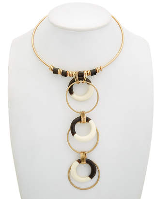 Robert Lee Morris SOHO Soho Primal Connection Plated Resin Circle Totem Frontal Wire Collar Necklace