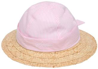 Armani Junior Striped Cotton Oxford & Straw Hat
