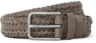 Brunello Cucinelli 3cm Grey Braided Suede Belt