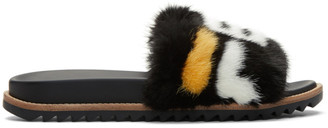 Fendi Black Mania Fur Slides