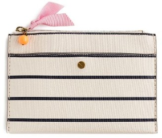 J.crew Medium Stripe Zip Top Pouch - White $39.50 thestylecure.com