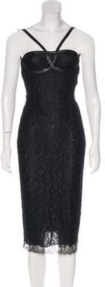 Alexander McQueen Leather Trimmed Lace Dress