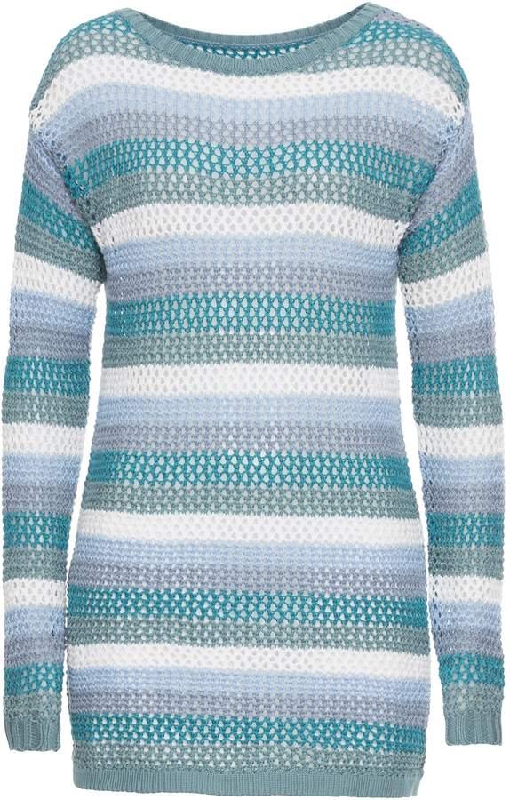 John Baner JEANSWEAR Langarm-Pullover mit Streifen und Ajourmuster