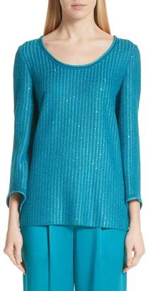 St. John Sequin Rib Knit Sweater