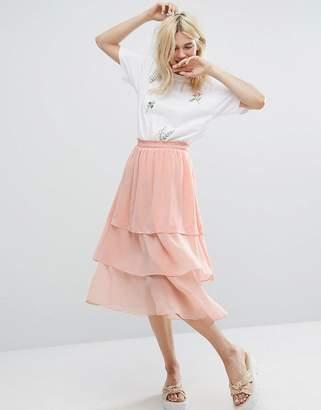 Monki Ruffle Layered Midi Skirt