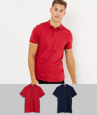 Asos DESIGN short sleeve jersey polo 2 pack SAVE