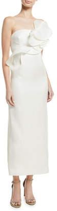 Oscar de la Renta Strapless Ruffle A-Line Tea-Length Silk Gown