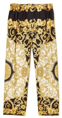 Versace Women's Hibiscus Print Silk Pants - Black Gold - Size 44 (8)