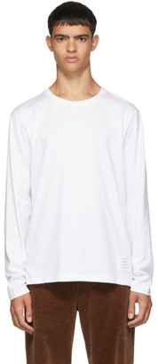 Thom Browne White Side Slit Relaxed Fit Long Sleeve T-Shirt
