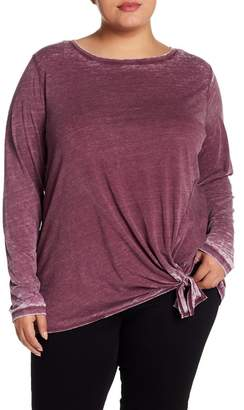 Susina Front Tie Long Sleeve Burnout Tee (Plus Size)