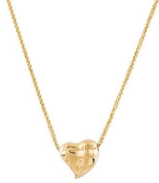 Engraved Heart Slide Pendant Necklace