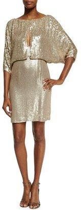 Jenny Packham 3/4-Sleeve Draped-Bodice Cocktail Dress, Dawn Gold $3,360 thestylecure.com