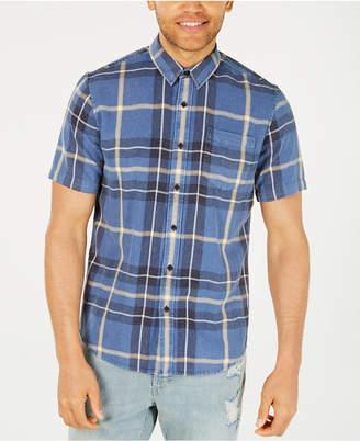 American Rag Men Snow-Washed Denim Plaid Shirt