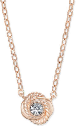 Kate Spade Rose Gold-Tone Crystal Knot Pendant Necklace