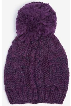 677ea59bc25 at Dorothy Perkins · Dorothy Perkins Womens Purple Cable Knit Pompom Beanie  Hat