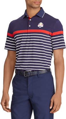 "Ralph Lauren Men's ""Thursday"" USA Ryder Cup Striped French-Knit Golf Polo Shirt"