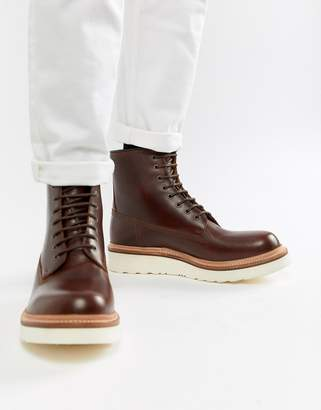 Grenson Arnold lace up boots in brown leather